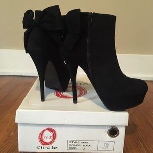 Ankle booties with bow detail